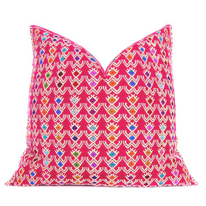 Deep Pink Handwoven Mexican Folk Art Accent Pillowbest decor - HUNTEDFOX