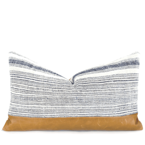 Hmong Indigo & Leather Lumbar Pillowbest decor - HUNTEDFOX
