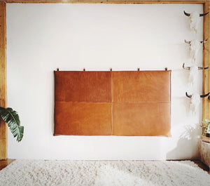 distressed hanging leather headboard cushion with  straps