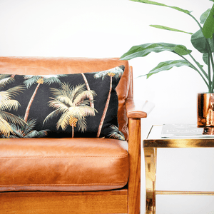 Modern Boho | Neon Palm Tree Queen Lumbar Pillowbest decor - HUNTEDFOX