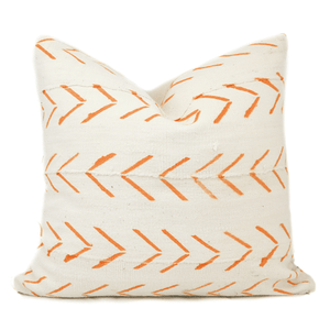White Mudcloth Orange Arrow Pillow