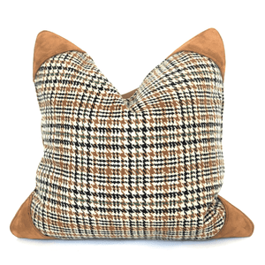 Wool Tweed & Suede Accent Pillowbest decor - HUNTEDFOX