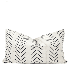 White & Black Chevron Arrow African Mudcloth Pillow - H U N T E D F O X