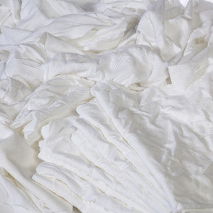 300 ($2.21 lb) BRAND NEW WHITE KNIT MILL END COTTON T-SHIRT MATERIAL LOW LINT
