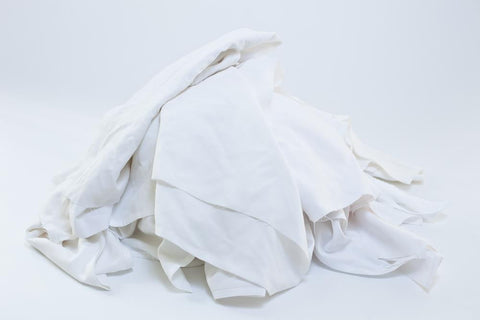 104 ($1.07 lb) WHITE CUT SHEETING POLISHING WIPING RAGS