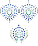 Flamboyant Rhinestone Pasties - Blue/Green