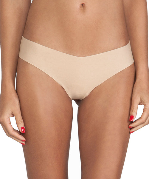 Laser Cut Cotton Thong - Nude