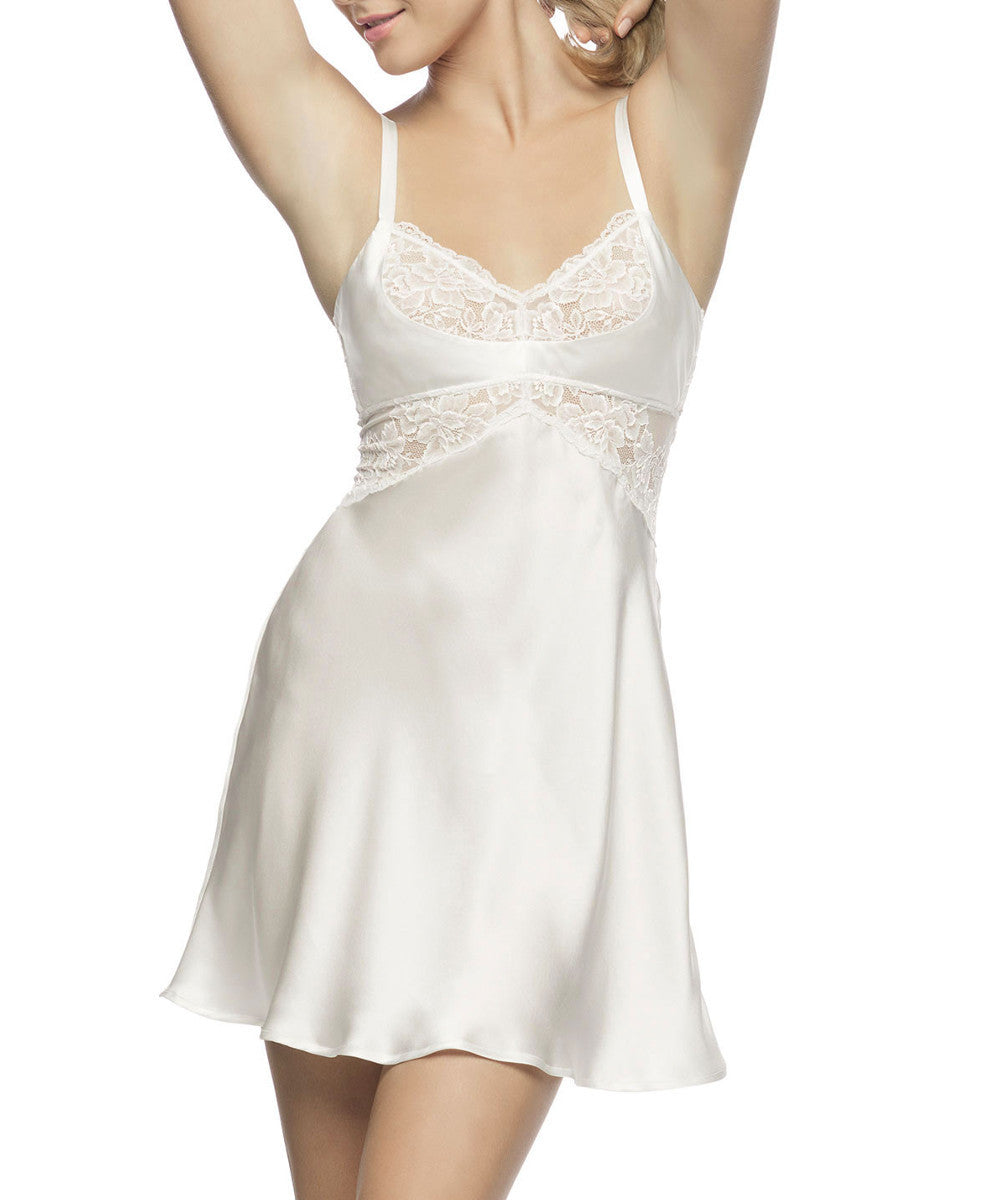 Morgan Cradle Bust Silk Chemise - Ivory