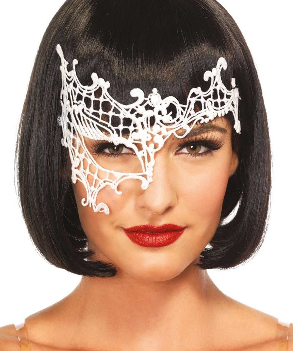 Daring Venetian Lace Mask - Black & White
