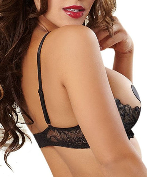Stretch Lace Shelf Bra - Black