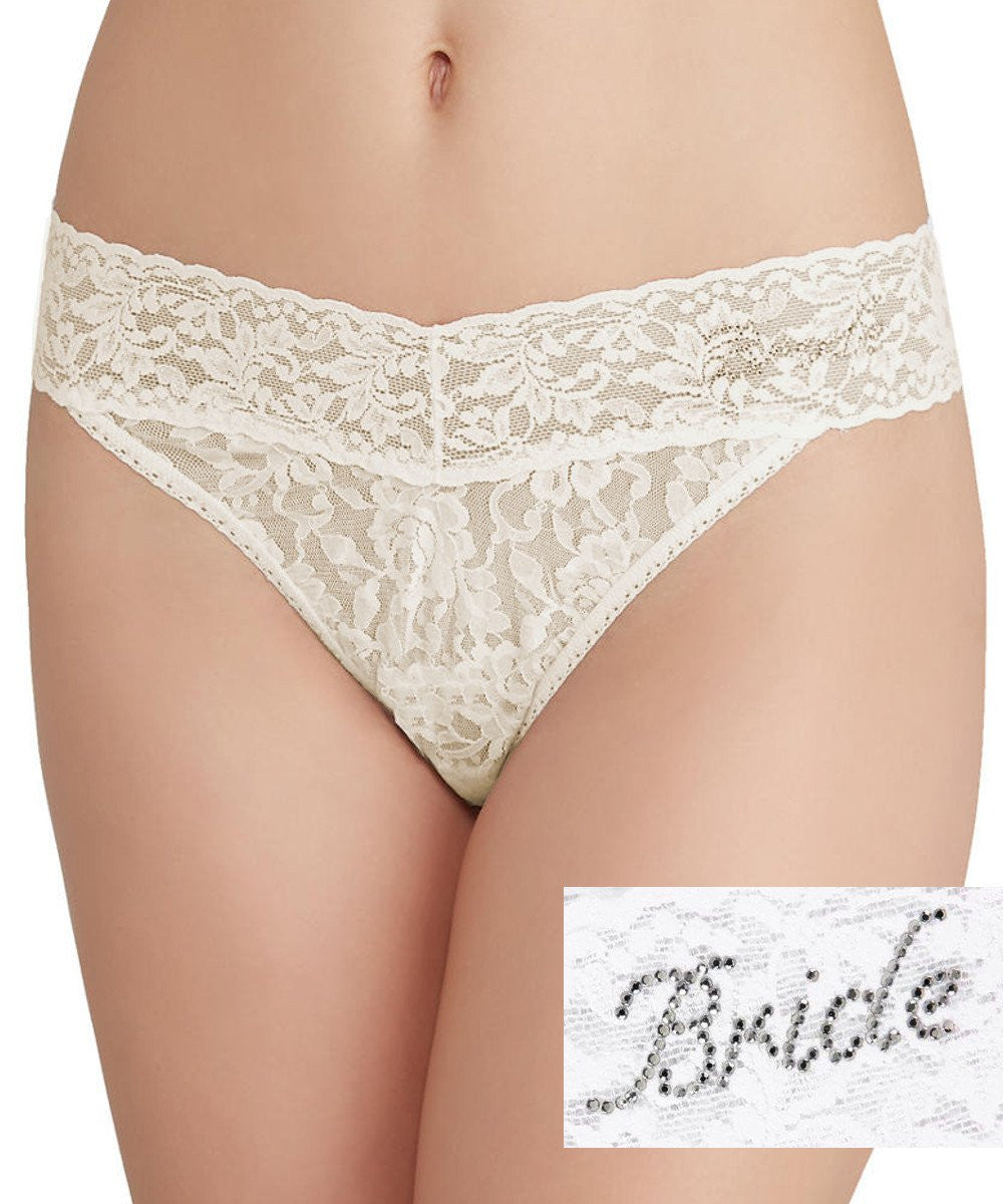 "Signature Lace Original Rise Bridal Thong - ""Bride"""