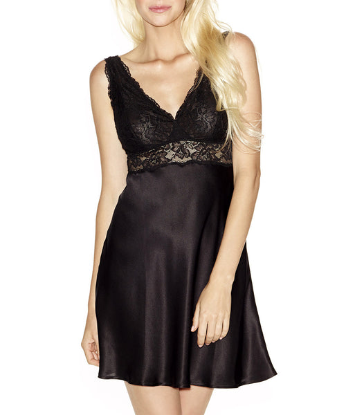 Morgan Lace Silk Chemise - Black