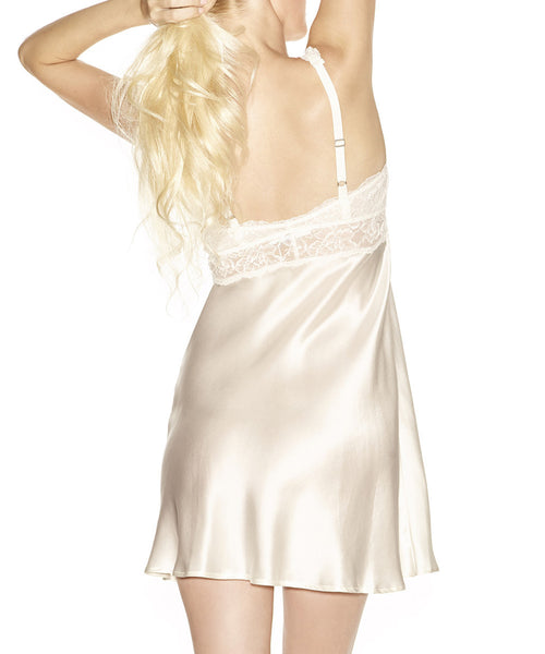 Morgan Lace Silk Chemise - Ivory