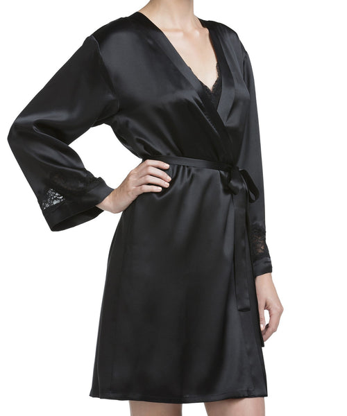 Morgan Silk Short Robe - Black