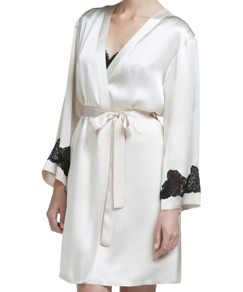 Morgan Silk Short Robe - Champagne