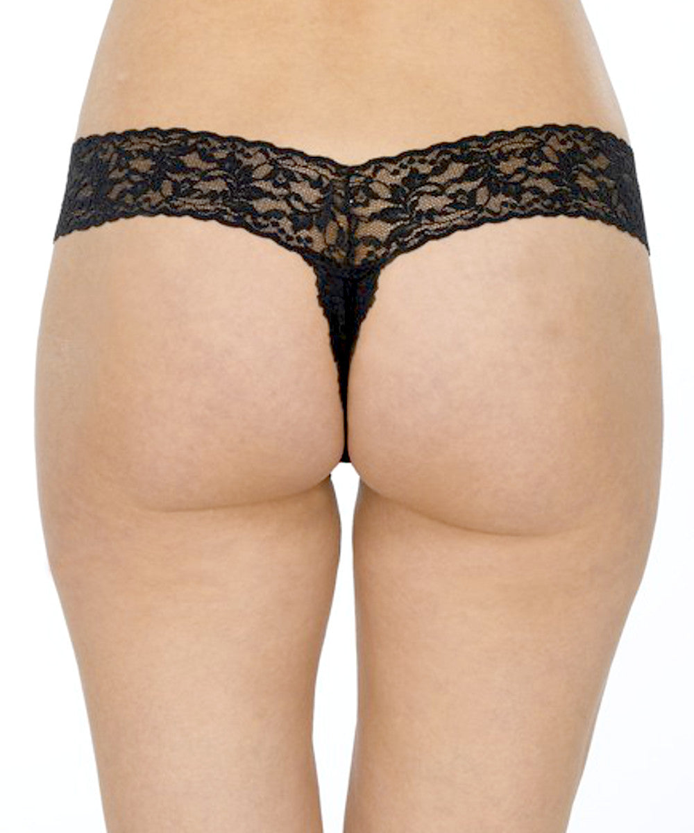 Open Crotch Low Rise Thong - Black, Red