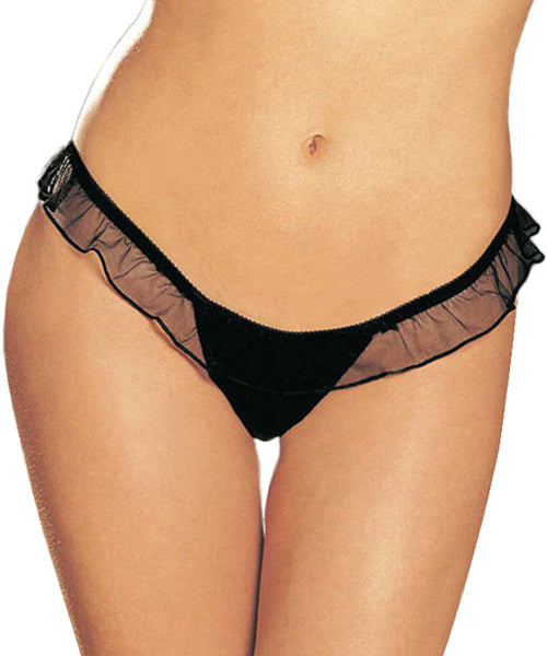 Satin Bow Thong - Black