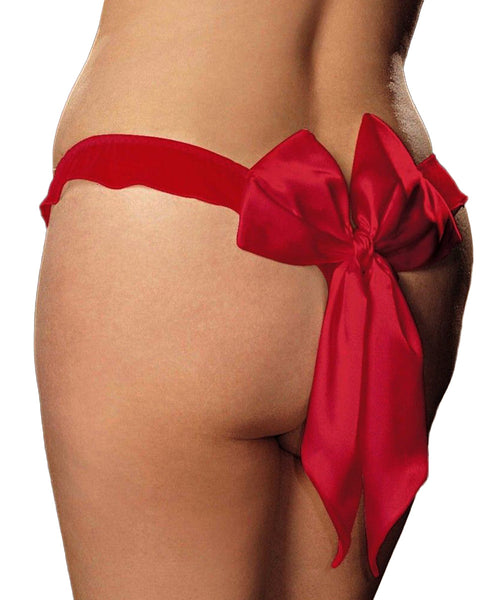 Satin Bow Thong - Red