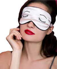 Silk Sleep Mask Eyelashes - Pink & Black