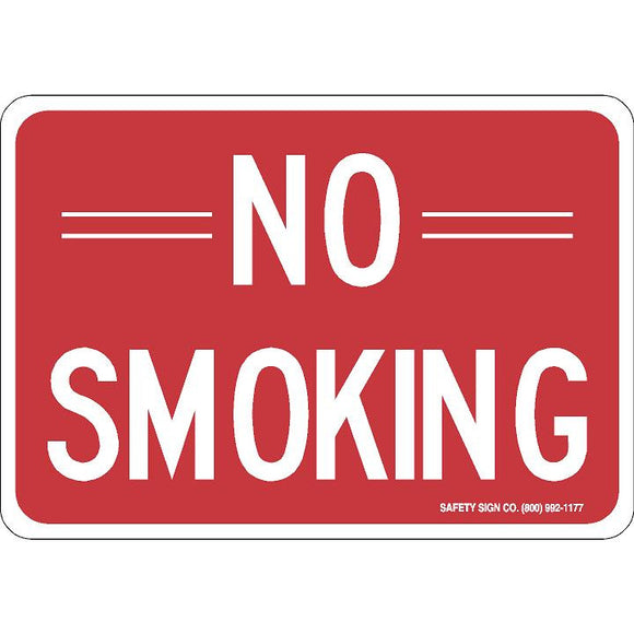 NO SMOKING (WHITE / RED) SIGN