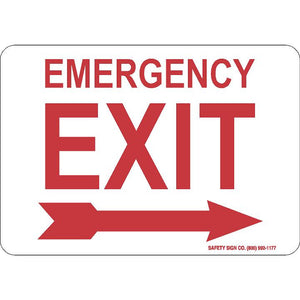 EMERGENCY EXIT (RIGHT ARROW) (RED/WHITE)