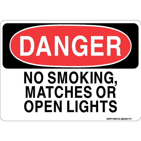 DANGER NO SMOKING, MATCHES OR OPEN LIGHTS SIGN