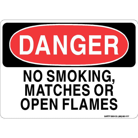 DANGER NO SMOKING, MATCHES OR OPEN FLAMES SIGN