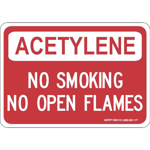 ACETYLENE NO SMOKING NO OPEN FLAMES (WHITE / RED) SIGN