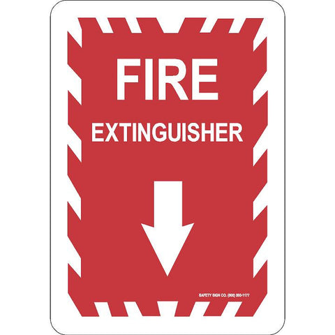 FIRE EXTINGUISHER - DOWN ARROW (WHITE / RED)