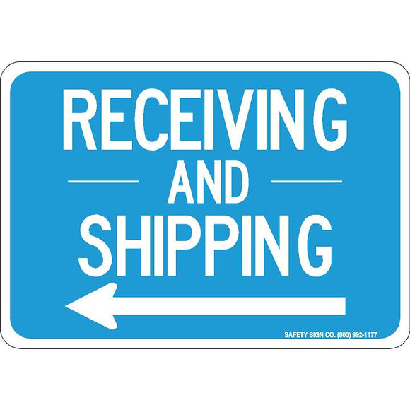 RECEIVING AND SHIPPING (LEFT ARROW) (WHITE/BLUE)