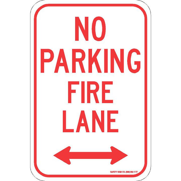 NO PARKING FIRE LANE (DOUBLE ARROW) SIGN