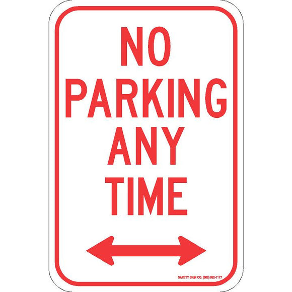NO PARKING ANY TIME (DOUBLE ARROW) SIGN