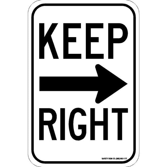 KEEP RIGHT (RIGHT ARROW) SIGN
