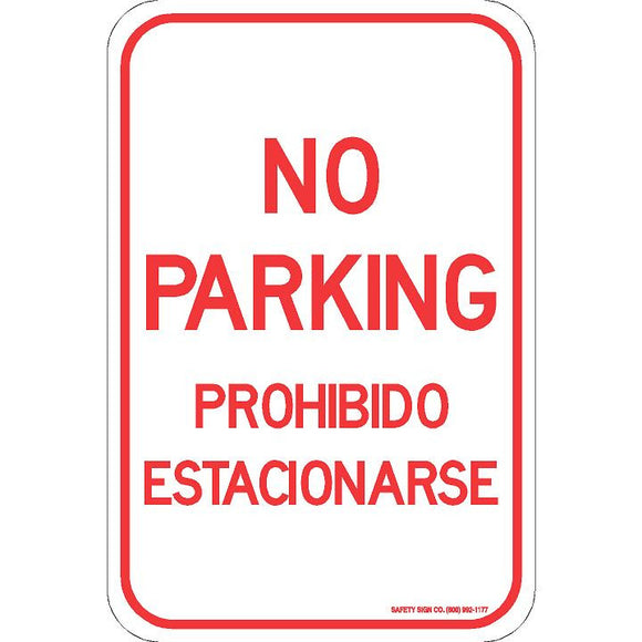 NO PARKING PROHIBIDO ESTACIONARSE SIGN