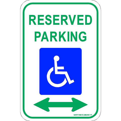 ADA RESERVED PARKING SIGN (DOUBLE ARROW) (WITH GRAPHIC)