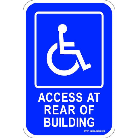 ADA PARKING SIGN ACCESS AT REAR OF BUILDING (WITH GRAPHIC)
