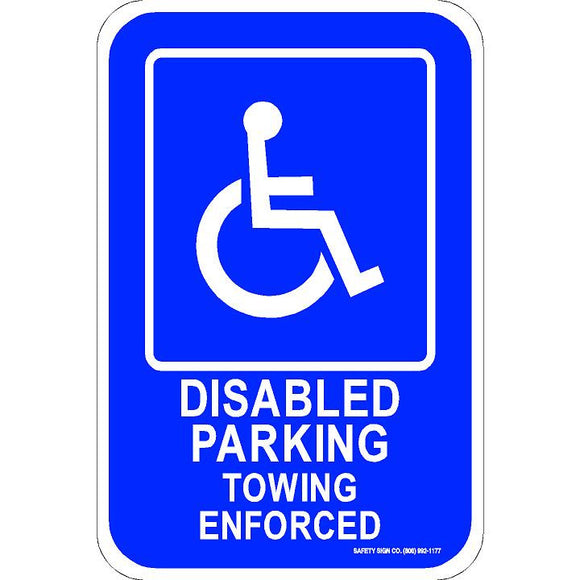 ADA PARKING SIGN DISABLED PARKING TOWING ENFORCED (WITH GRAPHIC)