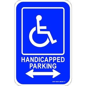ADA HANDICAPPED PARKING SIGN (DOUBLE ARROW) (WITH GRAPHIC)
