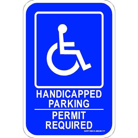 ADA HANDICAPPED PARKING PERMIT REQUIRED SIGN (WITH GRAPHIC)