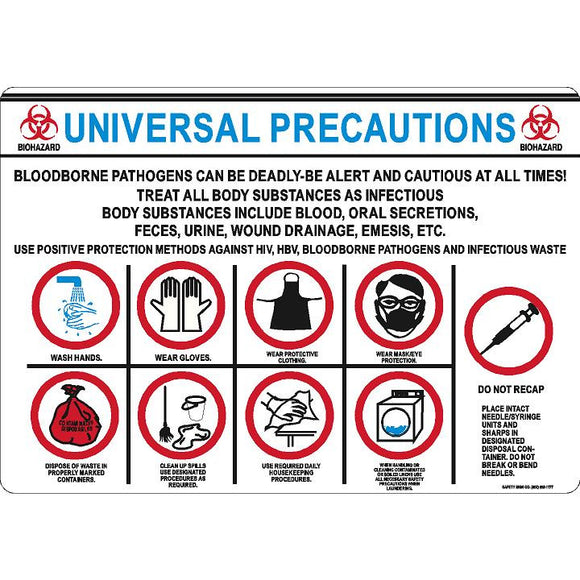 UNIVERSAL PRECAUTIONS SIGN-BLOODBORNE PATHOGENS CAN BE DEADLY ...