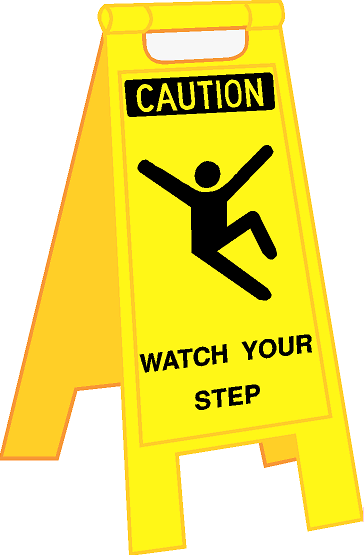 FOLDING PORTABLE FLOOR STAND - CAUTION WATCH YOUR STEP