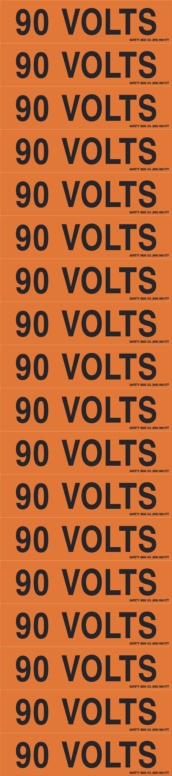 90 VOLTS PIMAR® Vinyl Press On Label (10 PACK)