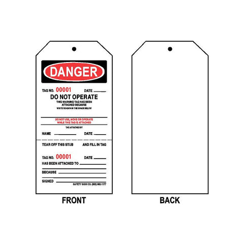 DANGER DO NOT OPERATE TAG (CONSECUTIVELY NUMBERED) (100 PER PACK)