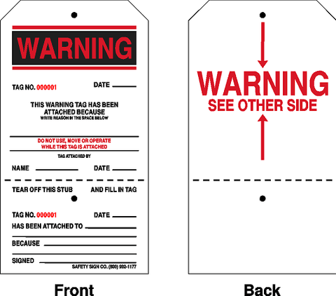 DANTAG® CONSECUTIVELY NUMBERED WARNING TAGS