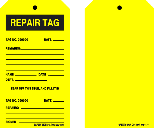CONSECUTIVELY NUMBERED REPAIR TAG (BLANK BACK)