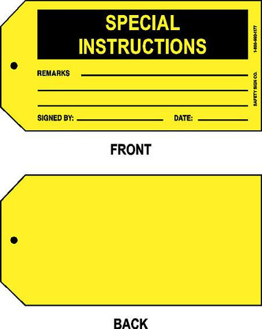 SPECIAL INSTRUCTIONS TAG