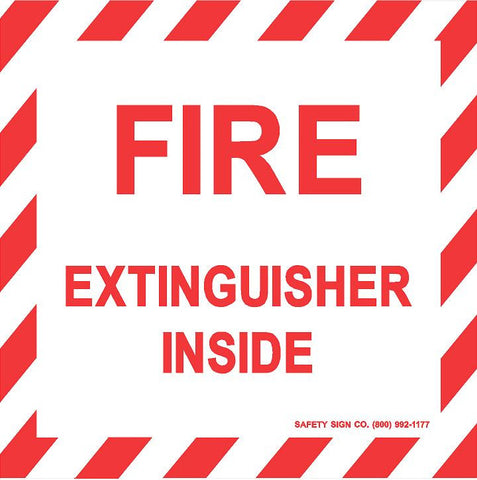 FIRE EXTINGUISHER INSIDE (STALAR® Vinyl Press On) (10 PACK)