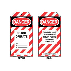 DANGER - DO NOT OPERATE - NAME - DEPT - DATE (THIS TAG & LOCK TO BE REMOVED ONLY BY PERSON SHOWN ON OTHER SIDE - ON BACK)
