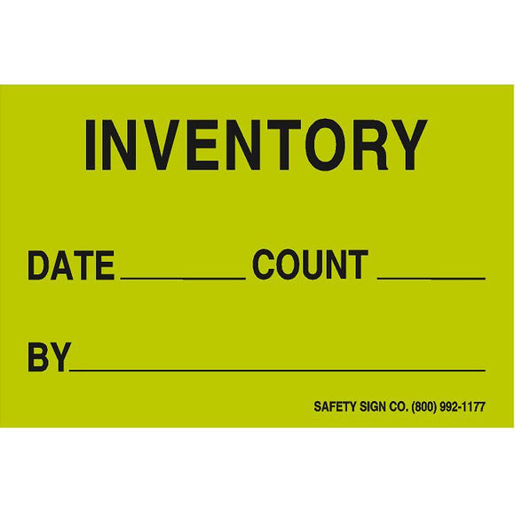 INVENTORY - DATE - COUNT- BY -Press On Paper Label (Fluorescent Green)