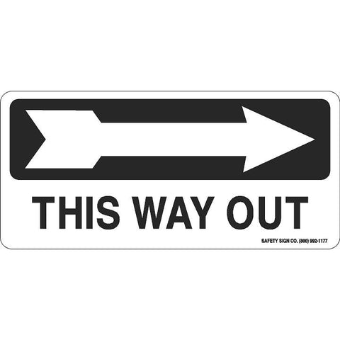 THIS WAY OUT (RIGHT ARROW) (BLACK/WHITE)